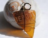 Unusual Sea Glass Pendant, Wire Wrapped Pendant, Unisex Jewelry