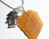 Sea Glass Jewelry, Wire Wrapped Pendant, Palm Tree Charm