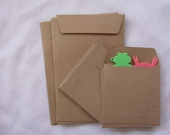 Set of 50 Kraft envelope 2 different size 9.5cmX9.5cm and A6 for photo or postcard