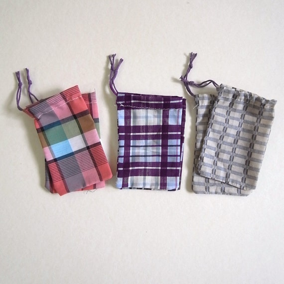 Check Set 6 small upcycle cotton drawstring fabric bags approximate 6.5cm X 11.5cm