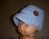 Blue Newsby Hat with Brown Buttons----Great Photo Prop-----