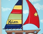 sailboat for Nolan,personalized Art,to match bedding,personalized art,childrens wall art,kids art,boys art,sail boat art,boat painting