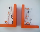 customized, hand painted  A-Z bookends,orange,brown,white,boys bookends,kids bookends,children's book ends,babys bookends,shower gift,A to Z