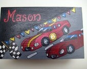 Hand painted race car box for match box cars, ring bearer gift, wedding party gift,kids boxes,boxes for boys, boys toy storage,personalized