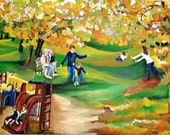 Happy Autumn Days, an original painting of a family enjoying the park on a beautiful Autumn day