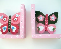 hand painted wooden butterfly bookends,pink,brown,customized,personalized gift,personalized bookends,butterfly,kids bookends,girl gift