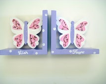 Personalized Butterfly bookends,lavender,pink,white,brown.butterfly bookends,girls bookends,personalized gift,kids bookends,childrens gift