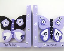 Personalized,Butterfly bookends,hand painted, purple, black, white,personalized girl gifts,purple butterflies,girls bookends, kids bookends