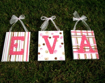 Eva or Ava,PERSONALIZED,customized name art,letters for girls,letters wall art,pink letters,girls letters,childrens letters,kids letters