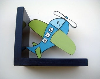 Airplane bookends,boys bookends,blue,navy,green,personalized boys gifts,personalized,childrens bookends,kids bookends,airplane room decor
