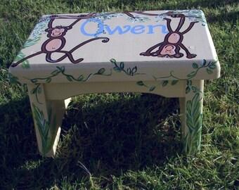Playful Monkey step stool,personalized,bench,kids stool,childrens stepstool,monkey room decor,jungle themed room decor,personalized stool