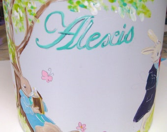 A personalized, hand painted lampshade and lamp,rabbits reading,hand painted lamp,childrens lamp,personalized lamp,customized lamp,kids lamp