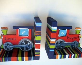 personalized train bookends,navy,red,green,orange stripes,red train,train theme,train decor,boys bookends,kids bookends,children's bookends