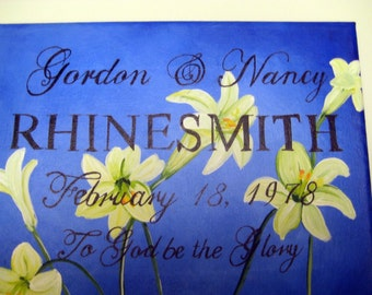 Hand painted Wedding anniversary plaque with white lilies,personalized gift,personalized wedding gift,personalized anniversary gift
