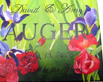 Hand painted Anniversary Plaque with red roses and purple irises,personalized gift,wedding gift,personalized anniversary gift,romantic gift