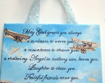 Irish blessing,baby boy,blue skies,vintage airplanes,biplanes,boys room art,boys wall art,inspirational nursery art,nursery wall art