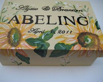 personalized sunflower wedding box,Corinthians 13,wedding keepsake box,wedding memory box,gift for bride,personalized wedding gift,sunflower