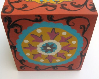 hand painted wooden tissue box in rust, turquiose and mustard