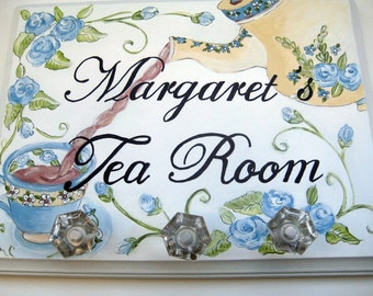 Hand painted personalized tea room sign,3 crystal hooks,kitchen hooks,crystal hooks,hooks for dishtowels,hooks for home,personalized gift
