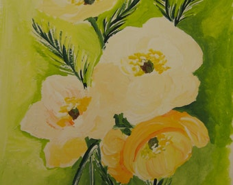 An original painting of poppies,sunshine,poppy painting,original painting,creamy poppies,yellow poppy painting,orange,wall hanging,wall art