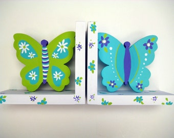 Butterfly bookends,purple,turquoise lime green,butterfly bedding,personalized bookends,girls bookends,kids bookends,personalized gift