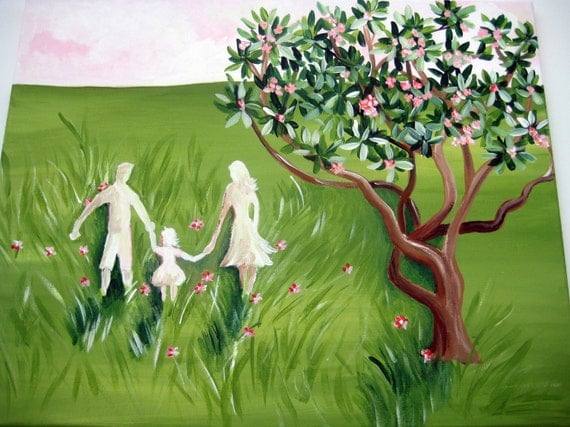 customized Family silhouette portrait,family silhouette ,family painting,family wall art,family wall hanging,field of flowers,silhouette art