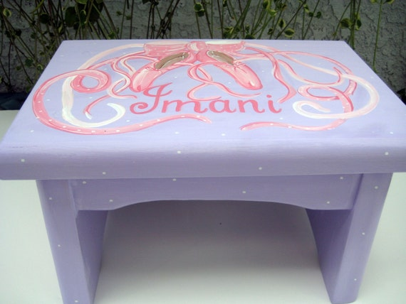 personalized,Hand painted,Ballet shoes step stool,lavender,pink,girls step stool,children's bench,kids,baby furniture,kids step stool,gift