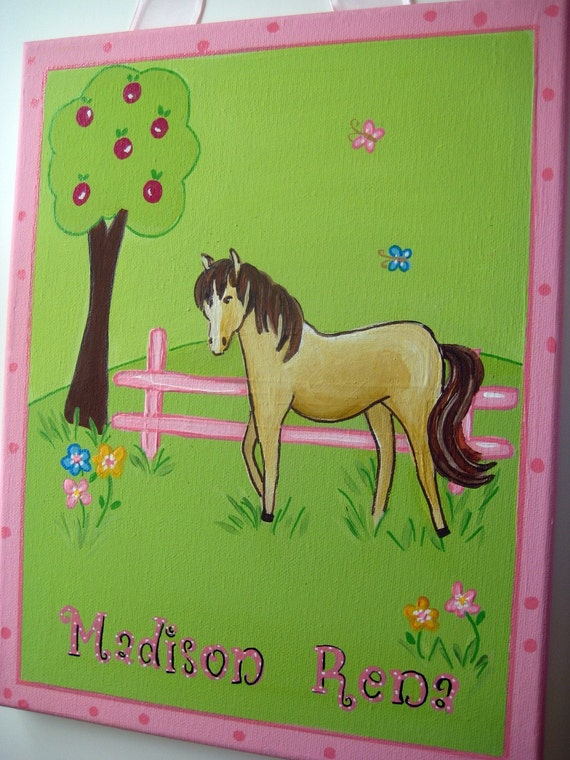 Personalized painting to match Pony dreams bedding, with a pink fence an apple tree and a pony in green fields, a painting for a horse lover