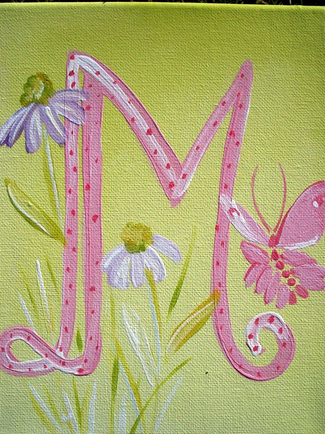 initial letter,pink,lavender,wall art ,customized, room decor,kids ...