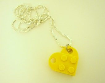 """Yellow Toy Brick Heart 16"""" Necklace Friends Forever gift"""