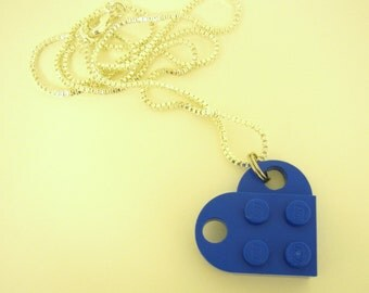 """Blue Toy Brick Heart 16"""" Necklace Friends Forever Gift"""