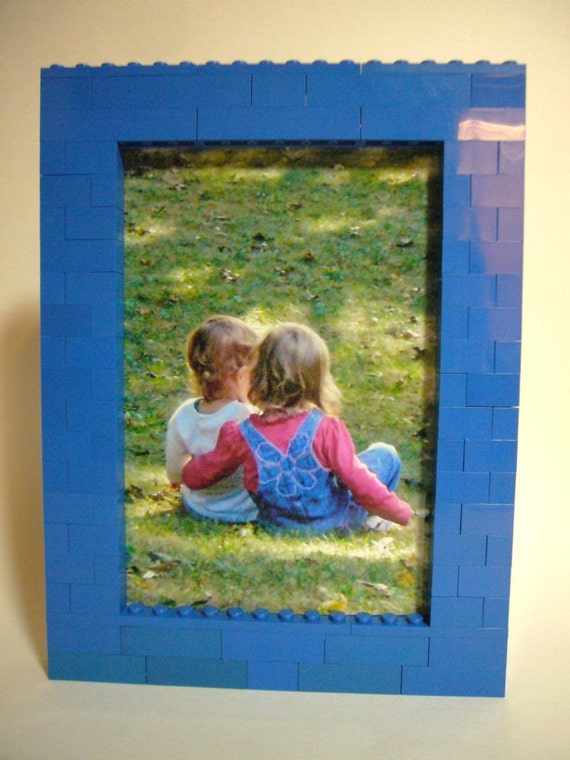 4 x 6 Blue Toy Brick Picture Frame Building Kit
