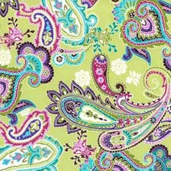 Patti Paisley Michael Miller Cotton Quilting Fabric Purple Green Pink - 1 Yard