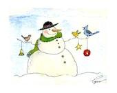 Snowman Christmas Greeting Card - Snowman Art - Winter Snowman Watercolor Painting Illustration Cartoon Greeting Card Print