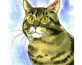 Card with Tabby Cat Head, Watercolor Cat Painting Print Greeting Card, Cat Portrait, Cat Art, Tabby Cat Watercolor Portrait