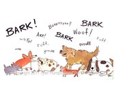 Dog Greeting Card - Funny Barking Dogs Watercolor Painting Cartoon Print 'Bark Ruff Woof'