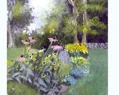 Flower Garden Greeting Card - Watercolor Flower Garden Landscape Painting Print