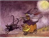 Funny Halloween Card, Halloween Greeting Card, Handmade Halloween card, Handmade Greeting Card, Halloween Greeting 'The Pumpkin Express'