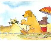 Funny Golden Retriever On Beach Greeting Card, Funny Beach Dogs Card, Golden Retriever Dog Illustration, Dog Cartoon Card