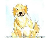 Dog Art, Golden Retriever Greeting Card, Dog Card, Funny Dog Watercolor Painting Print 'Good Boy'