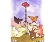 Spring Card - May Day Funny Watercolor Animals Greeting Card - Bunny Rabbits Pig Chickens Farm Animals - 'Around The Maypole' - tylersworkshop