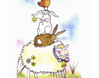 Funny Watercolor Animals Card -  Easter Card - Spring Greeting Card - Farm Animals Illustration Print - Chicken Rabbit Bunny Sheep Art