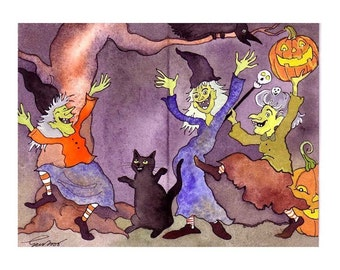 Funny Halloween Card - Witches Halloween Greeting Card - Witches Halloween Party Handmade Halloween Card 'Ladies Night'