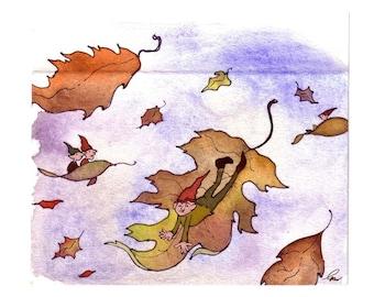 Gnome Autumn Greeting Card, Gnome Elf Fairy Art, Fairy illustration, Fairy Watercolor Painting Illustration Greeting Card Print 'Leaf Elves'