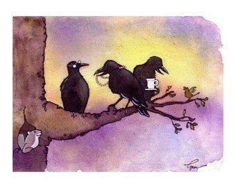 Crow Art - Crow Card - Funny Birds Crows Greeting Card Watercolor Painting Illustration Print '3 Old Crows'