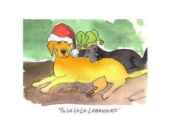 Labrador Retrievers Christmas Greeting Card Dog Art Funny Dogs Watercolor Illustration Print 'Fa La La La Labradors'