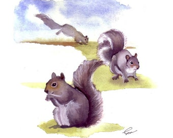 Squirrel Greeting Card - Squirrel Art - Squirrel Illustration Watercolor Painting Print 5x7
