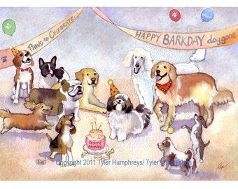 Funny Dog Greeting Card, Birthday Card, Dog Birthday Card, Dog Illustration, Dog Card, 'Happy BARKday'