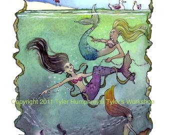 Mermaid Card, Mermaid Art, Swimming Mermaids Watercolor Gouache Painting Mermaids Illustration Print 'Mermaid's Folly'