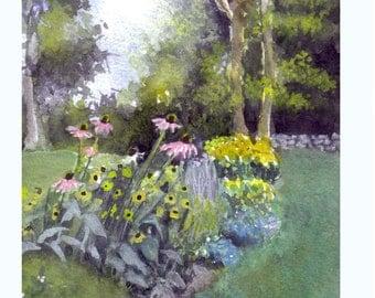 Flower Garden Card, Blank Card Summer Garden Flowers Connecticut New England, Garden Landscape Painting, Sympathy Card Flowers Garden